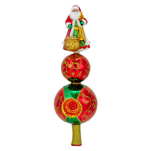 RADKO 1016372 NOBLE CLAUS FINIAL - SANTA WITH REFLECTOR - TREE TOPPER - NEW 2012