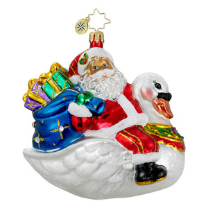 RADKO 1015922 BIRDS OF A FEATHER - SANTA RIDING SWAN WITH BAG OF PRESENT ORNAMENT - NEW 2012 (11-15)
