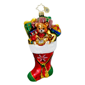RADKO 1015970 FILLED TO THE BRIM - STOCKING FULL OF TOYS & PRESENTS ORNAMENT - NEW 2012 (12-3)