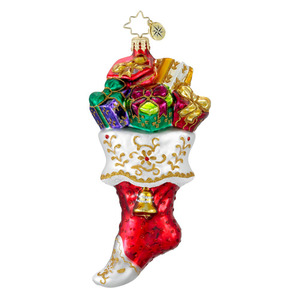 RADKO 1015971 GILDED WITH GIFTS - STOCKING FULL PRESENTS ORNAMENT - NEW 2012 (12-3)