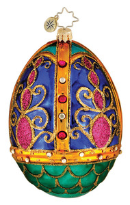 RADKO 1015974 BEDECKED AND BEJEWELED - BLUE EASTER EGG ORNAMENT - NEW 2012 (12-3)