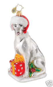 RADKO 1014849 HOLIDAISY - DOG WITH SANTA HAT ORNAMENT - NEW 2010 (Q2)