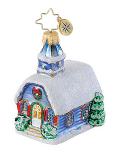 RADKO 1015092 PASTORAL PARISH GEM - SNOWY CHURCH - RETIRED ORNAMENT (18)