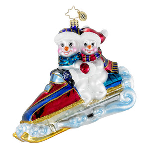 RADKO 1016134 SNOW WAY HOME - SNOWMAN & SNOW WOMAN ON SNOWMOBILE ORNAMENT - NEW 2012 (12-9)