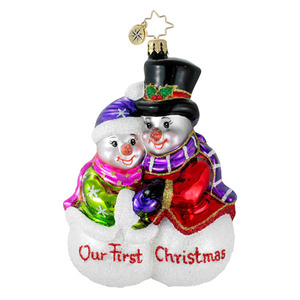 RADKO 1016178 SHARING THE WARMTH - OUR FIRST CHRISTMAS SNOW COUPLE ORNAMENT - NEW 2012 (12-11)