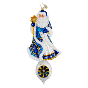 RADKO 1016190 STARDUST MEMORIES - JEWELED SANTA WITH STAFF ON DROP WITH REFLECTOR ORNAMENT - NEW 2012 (12-11)