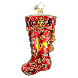 RADKO 1016240 SCARLET SHIMMER - RED & GOLD STOCKING ORNAMENT - NEW 2012 (12-12)