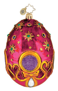 RADKO 1015974 BEDECKED AND BEJEWELED - PINK EASTER EGG ORNAMENT - NEW 2012 (12-3)