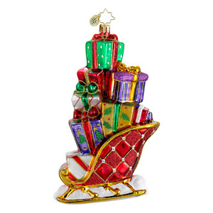 RADKO 1015979 GIFTS ON THE GO - JEWELED SLEIGH FULL OF PRESENTS ORNAMENT - NEW 2012 (12-4)