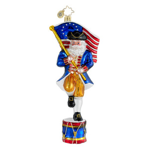 RADKO 1015988 COLONIAL CLAUS - PATRIOTIC SANTA WITH FLAG ON DRUM ORNAMENT - NEW 2012 (12-4)