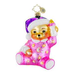 RADKO 1016009 SWEET DREAMS PINK - BABY BEAR WITH BOTTLE ORNAMENT - NEW 2012 (12-5)