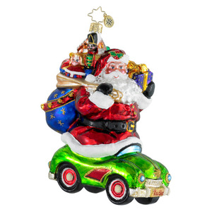 RADKO 1016018 HITCHING A RIDE - SANTA WITH PRESENTS IN CAR ORNAMENT - NEW 2012 (12-5)