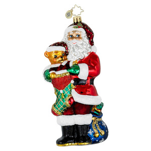 RADKO 1016036 STOCKING STUFFER - SANTA WITH STOCKING & BEAR ORNAMENT - NEW 2012 (12-6)