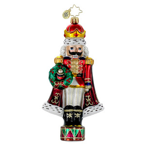 RADKO 1016045 HE'S THE KING - NUTCRACKER WITH CROWN & WREATH ORNAMENT - NEW 2012 (12-6)