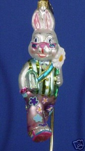 RADKO 1012979 HOP-A-LONG FELLOW - EASTER - HIPPY RABBIT - RETIRED ORNAMENT (E3)