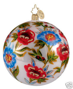 RADKO 1012205 WINDROSE - FLOWERS - ROSES - BALL RETIRED ORNAMENT (LL)