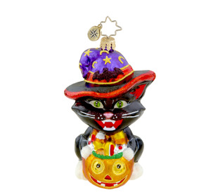 RADKO 1015498 WITCHY WANNABE - HALLOWEEN - BLACK CAT IN WITCHES HAT - RETIRED ORNAMENT (H4)