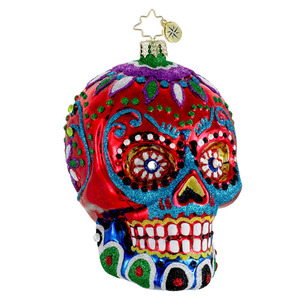 RADKO 1015959 LA CALAVERA - RED - HALLOWEEN - DAY OF THE DEAD - SKULL ORNAMENT - NEW FOR 2012 (H4)