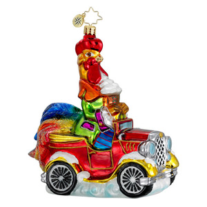 RADKO 1016293 ROOSTER EN ROUTE - ROOSTER DRIVING CAR ORNAMENT - NEW 2012 (12-14)