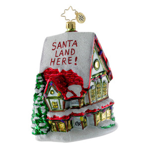 RADKO 1016319 MARKING THE SPOT - HOUSE WITH SANTA LAND HERE ORNAMENT - NEW 2012 (12-15)
