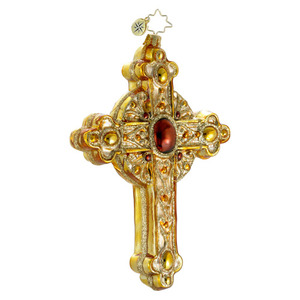 RADKO 1016333 GOLDEN ROOD - GOLD CROSS ORNAMENT - NEW 2012 (12-16)
