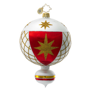 RADKO 1016391 OZ BALLOON - RED & WHITE BALL ORNAMENT - VINTAGE BALL AND DROP COLLECTION - NEW 2012 (12-17)