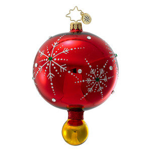 RADKO 1016394 SNOWFLAKE CASCADE - RED DROP ORNAMENT - VINTAGE BALL AND DROP COLLECTION - NEW 2012 (12-17)