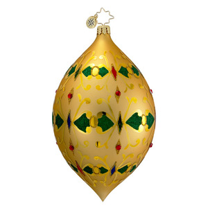 RADKO 1016398 TREASURED TAPESTRY - GOLD DROP ORNAMENT - VINTAGE BALL AND DROP COLLECTION - NEW 2012 (12-18)