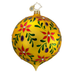 RADKO 1016400 PAINTED LEAF GLORY - GOLD BALL ORNAMENT - VINTAGE BALL AND DROP COLLECTION - NEW 2012 (12-18)