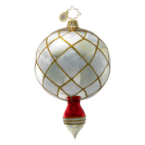 RADKO 1016405 SILVER INFINITY - DROP ORNAMENT - VINTAGE BALL AND DROP COLLECTION - NEW 2012 (12-18)