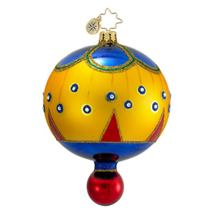 RADKO 1016408 ON A MISSION - GOLD BALL ORNAMENT - VINTAGE BALL AND DROP COLLECTION - NEW 2012 (12-18)