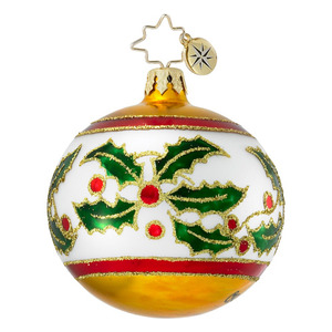 RADKO 1016411 HOLLY LEAF RIBBON MINI - BALL ORNAMENT - VINTAGE BALL AND DROP COLLECTION - NEW 2012 (12-18)