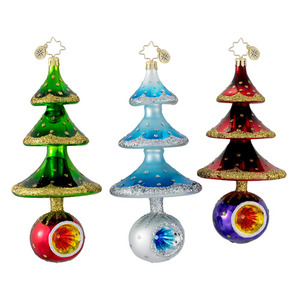 RADKO 1016277 SO MANY MEMORIES - BLUE TREE WITH REFLECTOR ORNAMENT - CLASSIC RADKO COLLECTION - NEW FOR 2012 (12-14)