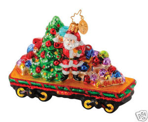 RADKO 1014642 DECK THE RAILS - SANTA TRAIN ORNAMENT