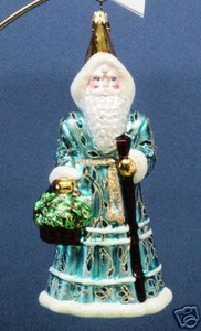 RADKO 3010666 SAPPHIRE BLUE ROBES - RECOLORED RUBY ROBES SANTA - RETIRED ORNAMENT (AA)