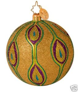 RADKO 1013838 GOLDEN PEACOCK - RETIRED BALL ORNAMENT (GG1)