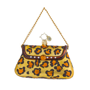 RADKO 1016434 EVERYTHING SHE NEEDS - LEOPARD PRINT LADIES PURSE ORNAMENT - NEW 2013 (13-3)