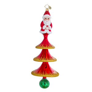 RADKO 1016497 HOLIDAY FLAIR - 3 TIERED TREE WITH SANTA ORNAMENT - NEW 2013 (13-5)