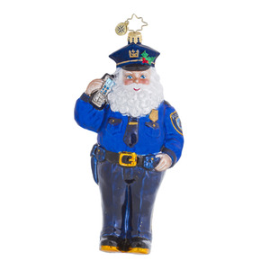 RADKO 1016445 OFFICER NICK - LAW ENFORCEMENT AWARENESS - POLICEMAN SANTA ORNAMENT - NEW 2013 (13-1)