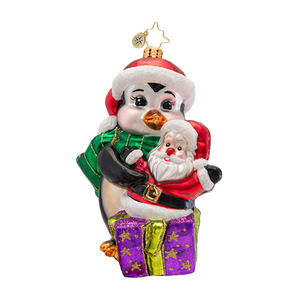 RADKO 1016954 PENNY'S TREASURE - PEDIATRIC CANCER AWARENESS - PENGUIN & SANTA ORNAMENT - NEW 2013 (13-1)