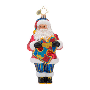 RADKO 1016956 A VERY IMPORTANT PIECE - AUTISM AWARENESS - SANTA ORNAMENT - NEW 2013 (13-1)