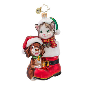 RADKO 1016946 CUTE IN A BOOT - ANIMAL CHARITY AWARENESS - DOG & CAT ORNAMENT - NEW 2013 (13-1)