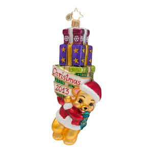 RADKO 1016689 BEARY MERRY CHRISTMAS! - DATED 2013 - BEAR WITH GIFTS ORNAMENT - NEW 2013 (13-2)