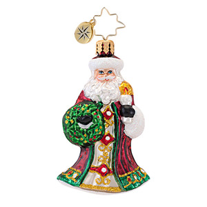 RADKO 1016750 GUIDING LIGHT GEM - SANTA WITH WREATH & CANDLE ORNAMENT - NEW 2013 (21)