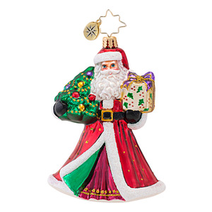 RADKO 1016840 JOYFUL VISITOR - SANTA WITH GIFT ORNAMENT - NEW 2013 (13-16)