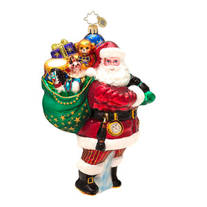 RADKO 1016602 FOR ALL THE GIRLS AND BOYS - SANTA WITH BAG OF TOYS - DESIGNER'S CHOICE ORNAMENT - NEW 2013 (13-2)