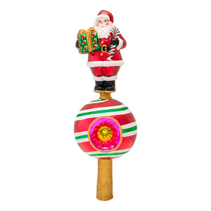 RADKO 1016871 SWEET REFLECTIONS FINIAL - SANTA ON CANDY BALL WITH REFLECTOR - TREE TOPPER - NEW 2013