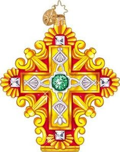 RADKO 1011058 RADIANCE - JEWELS - GOLD CROSS ORNAMENT - RETIRED