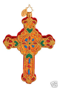 RADKO 1014408 DEVINE DECOR - RELIGOUS - CROSS - RETIRED ORNAMENT (G2)