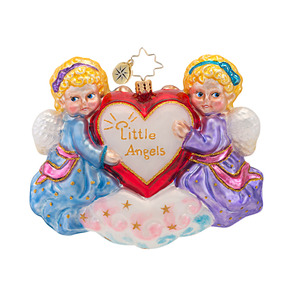 RADKO 1016860 LITTLE ANGELS - 2 ANGELS WITH HEARTS ORNAMENT - NEW 2013 (13-17)